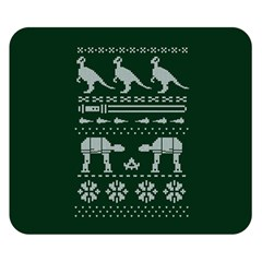Holiday Party Attire Ugly Christmas Green Background Double Sided Flano Blanket (Small)