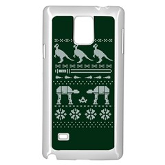 Holiday Party Attire Ugly Christmas Green Background Samsung Galaxy Note 4 Case (White)