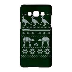 Holiday Party Attire Ugly Christmas Green Background Samsung Galaxy A5 Hardshell Case