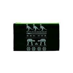 Holiday Party Attire Ugly Christmas Green Background Cosmetic Bag (XS)
