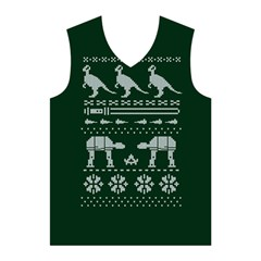 Holiday Party Attire Ugly Christmas Green Background Men s Basketball Tank Top