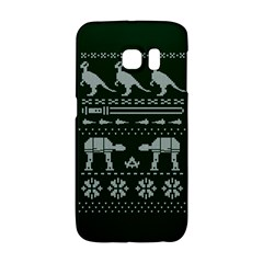 Holiday Party Attire Ugly Christmas Green Background Galaxy S6 Edge