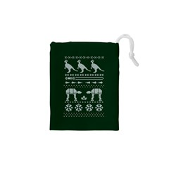 Holiday Party Attire Ugly Christmas Green Background Drawstring Pouches (XS)