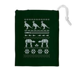 Holiday Party Attire Ugly Christmas Green Background Drawstring Pouches (Extra Large)