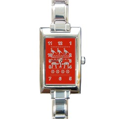 Holiday Party Attire Ugly Christmas Red Background Rectangle Italian Charm Watch