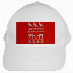 Holiday Party Attire Ugly Christmas Red Background White Cap