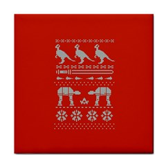 Holiday Party Attire Ugly Christmas Red Background Tile Coasters