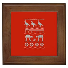 Holiday Party Attire Ugly Christmas Red Background Framed Tiles