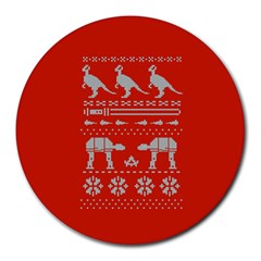 Holiday Party Attire Ugly Christmas Red Background Round Mousepads