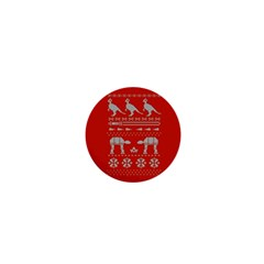 Holiday Party Attire Ugly Christmas Red Background 1  Mini Magnets