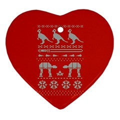 Holiday Party Attire Ugly Christmas Red Background Ornament (Heart)