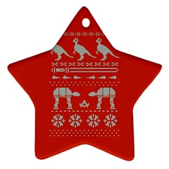 Holiday Party Attire Ugly Christmas Red Background Ornament (Star)