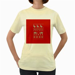 Holiday Party Attire Ugly Christmas Red Background Women s Yellow T Shirt