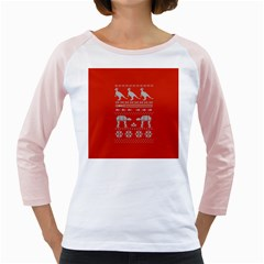 Holiday Party Attire Ugly Christmas Red Background Girly Raglans