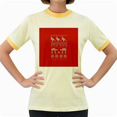 Holiday Party Attire Ugly Christmas Red Background Women s Fitted Ringer T-Shirts