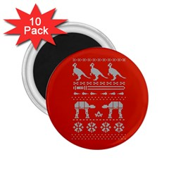 Holiday Party Attire Ugly Christmas Red Background 2.25  Magnets (10 pack)