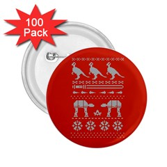 Holiday Party Attire Ugly Christmas Red Background 2.25  Buttons (100 pack)