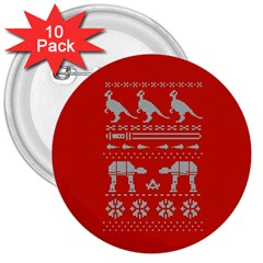 Holiday Party Attire Ugly Christmas Red Background 3  Buttons (10 pack)