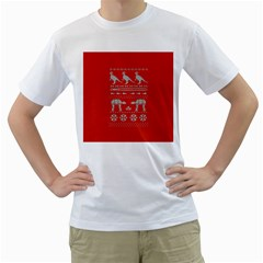 Holiday Party Attire Ugly Christmas Red Background Men s T-Shirt (White) (Two Sided)