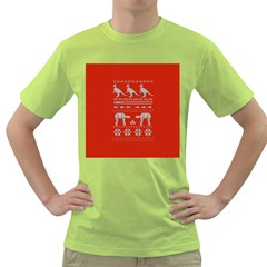 Holiday Party Attire Ugly Christmas Red Background Green T-Shirt