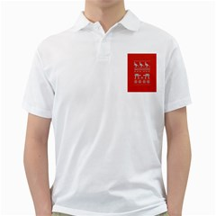Holiday Party Attire Ugly Christmas Red Background Golf Shirts
