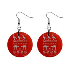 Holiday Party Attire Ugly Christmas Red Background Mini Button Earrings