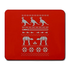 Holiday Party Attire Ugly Christmas Red Background Large Mousepads