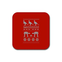 Holiday Party Attire Ugly Christmas Red Background Rubber Square Coaster (4 pack)