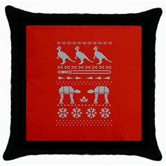 Holiday Party Attire Ugly Christmas Red Background Throw Pillow Case (Black)