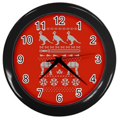 Holiday Party Attire Ugly Christmas Red Background Wall Clocks (Black)