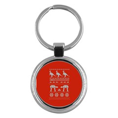 Holiday Party Attire Ugly Christmas Red Background Key Chains (Round)