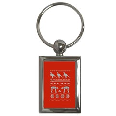 Holiday Party Attire Ugly Christmas Red Background Key Chains (Rectangle)