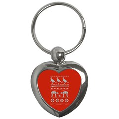 Holiday Party Attire Ugly Christmas Red Background Key Chains (Heart)