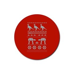 Holiday Party Attire Ugly Christmas Red Background Rubber Round Coaster (4 pack)