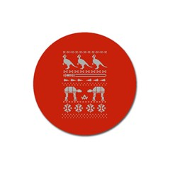 Holiday Party Attire Ugly Christmas Red Background Magnet 3  (Round)