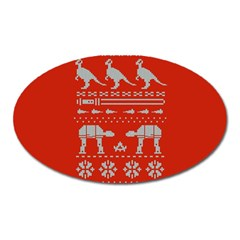 Holiday Party Attire Ugly Christmas Red Background Oval Magnet