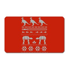 Holiday Party Attire Ugly Christmas Red Background Magnet (Rectangular)