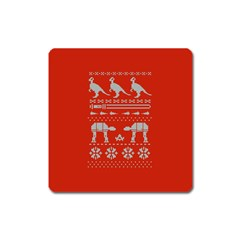 Holiday Party Attire Ugly Christmas Red Background Square Magnet
