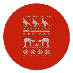 Holiday Party Attire Ugly Christmas Red Background Magnet 5  (Round)