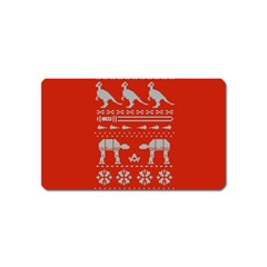 Holiday Party Attire Ugly Christmas Red Background Magnet (Name Card)