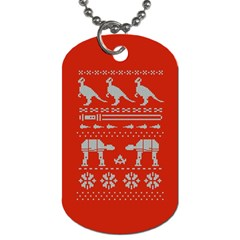 Holiday Party Attire Ugly Christmas Red Background Dog Tag (One Side)