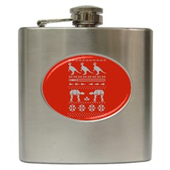 Holiday Party Attire Ugly Christmas Red Background Hip Flask (6 oz)