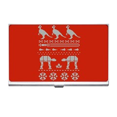 Holiday Party Attire Ugly Christmas Red Background Business Card Holders