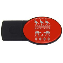 Holiday Party Attire Ugly Christmas Red Background USB Flash Drive Oval (1 GB)