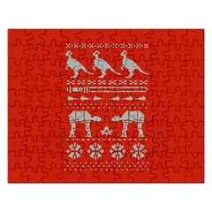 Holiday Party Attire Ugly Christmas Red Background Rectangular Jigsaw Puzzl