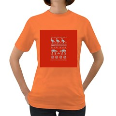 Holiday Party Attire Ugly Christmas Red Background Women s Dark T-Shirt