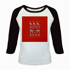 Holiday Party Attire Ugly Christmas Red Background Kids Baseball Jerseys