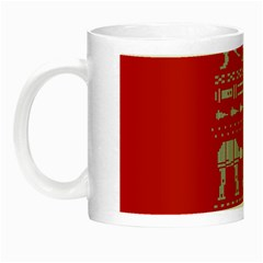 Holiday Party Attire Ugly Christmas Red Background Night Luminous Mugs