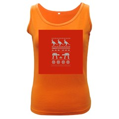 Holiday Party Attire Ugly Christmas Red Background Women s Dark Tank Top
