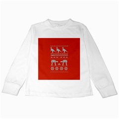 Holiday Party Attire Ugly Christmas Red Background Kids Long Sleeve T-Shirts